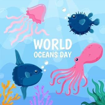 Dia mundial dos oceanos com polvo e água-viva