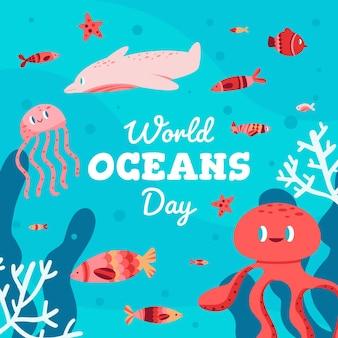 Dia mundial dos oceanos com polvo e peixe