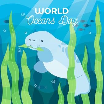 Dia mundial dos oceanos com selo debaixo d'água