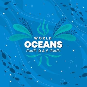 Dia mundial dos oceanos com vegetação subaquática