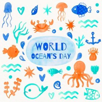 Dia mundial dos oceanos design aquarela