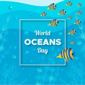 Dia mundial dos oceanos design plano ilustrado