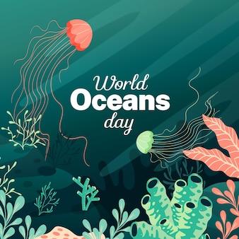 Dia mundial dos oceanos design plano