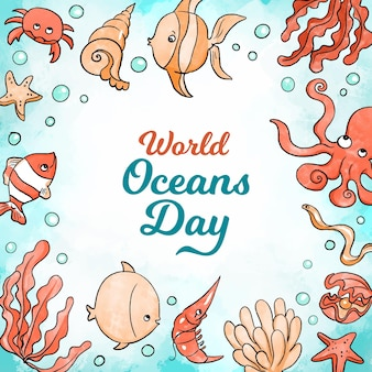 Dia mundial dos oceanos em aquarela