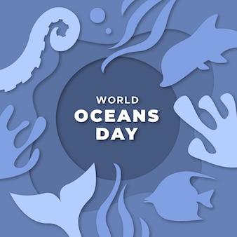 Dia mundial dos oceanos em design de papel