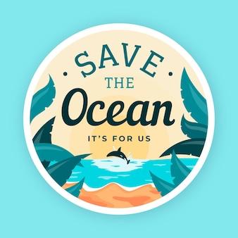 Dia mundial dos oceanos em design plano