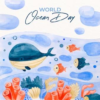 Dia mundial dos oceanos estilo aquarela