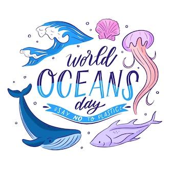 Dia mundial dos oceanos estilo mão desenhada