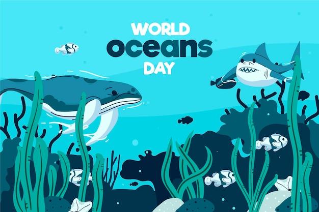 Dia mundial dos oceanos ilustrado