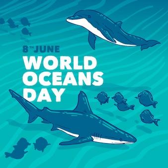 Dia mundial dos oceanos mão desenhada