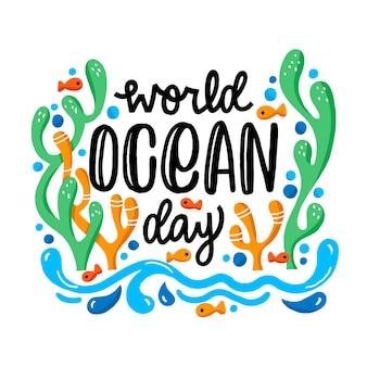 Dia mundial dos oceanos mão estilo desenhado