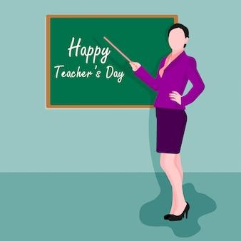 Dia mundial dos professores. ilustração, de, professor feminino