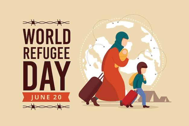 Dia mundial dos refugiados com mãe e filho