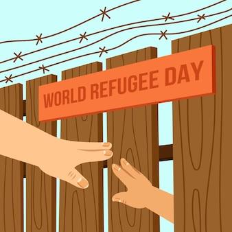 Dia mundial dos refugiados de ilustração de mão desenhada