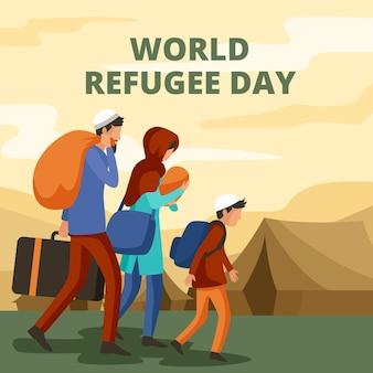 Dia mundial dos refugiados em design plano