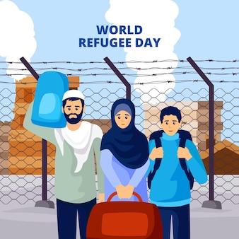 Dia mundial dos refugiados, estilo ilustrado