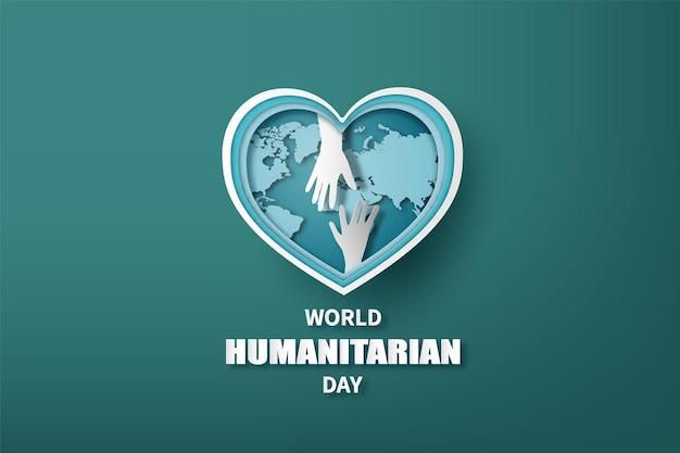 Dia mundial humanitário, colagem de papel e estilo de corte de papel com artesanato digital.
