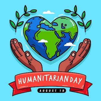 Dia mundial humanitário de mão desenhada design