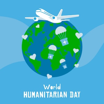Dia mundial humanitário mão desenhada design