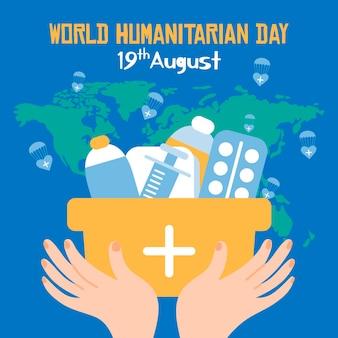 Dia mundial humanitário mão desenhada estilo