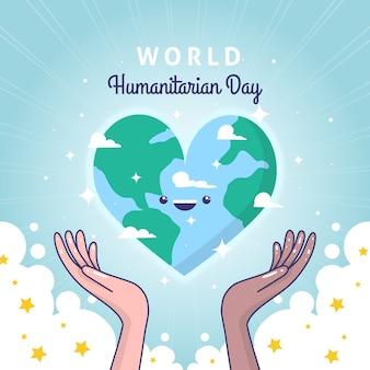 Dia mundial humanitário mão desenhada
