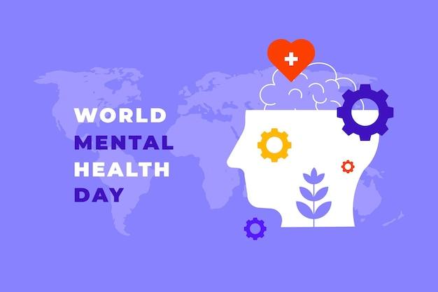 Dia mundial plano abstrato da saúde mental