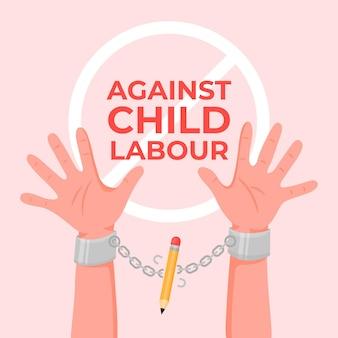 Dia mundial plano contra ilustração de trabalho infantil