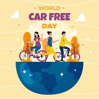 Dia mundial sem carros com pessoas e planeta