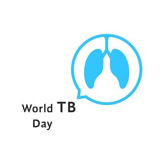 Dia mundial tb com balão azul. conceito de discutir o problema, questão, asma brônquica, primeiros socorros, análise. isolado no fundo branco. ilustração em vetor design de logotipo moderno tendência estilo simples