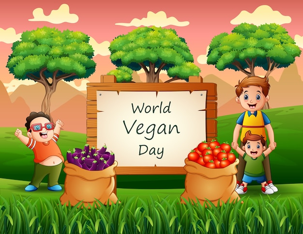 Dia mundial vegano em cartaz com meninos felizes no jardim