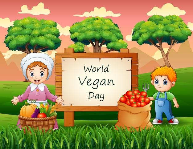 Dia mundial vegano em cartaz com vegetais e jovens agricultores