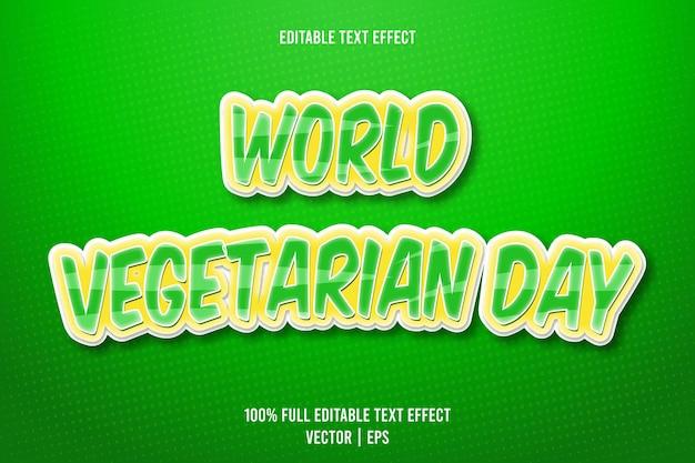 Dia mundial vegetariano editável com efeito de texto em 3 dimensões em relevo estilo cartoon