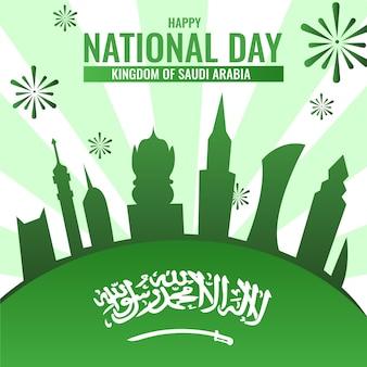 Dia nacional da arábia saudita com fogos de artifício