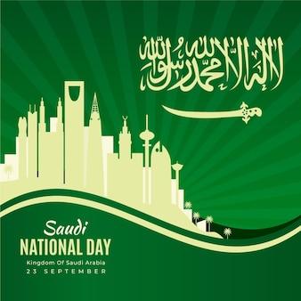Dia nacional da arábia saudita com horizonte