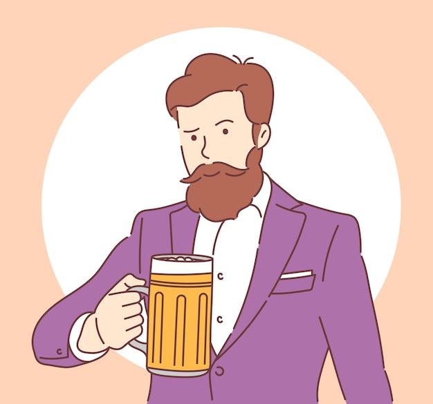 Dia nacional da cerveja homem alegre com uma barba no terno segurando uma caneca de cerveja. ilustração em vetor plana