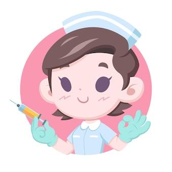Dia nacional das enfermeiras, enfermeira com estilo fofo segurando seringa de injeção Vetor Premium