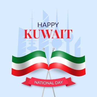 Dia nacional de kuwait realista com bandeira