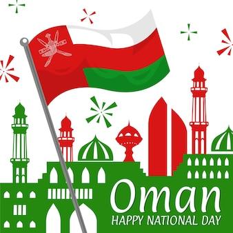 Dia nacional de omã com bandeira