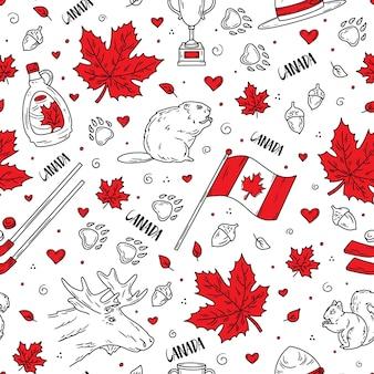 Dia nacional do canadá padrão sem emenda com símbolos tradicionais no estilo doodle