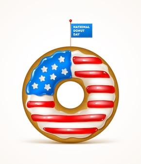 Dia nacional do donut dos eua donut com as cores da bandeira dos eua