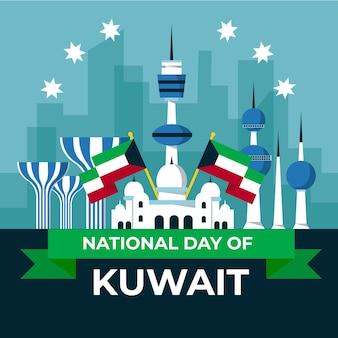 Dia nacional do kuwait em design plano