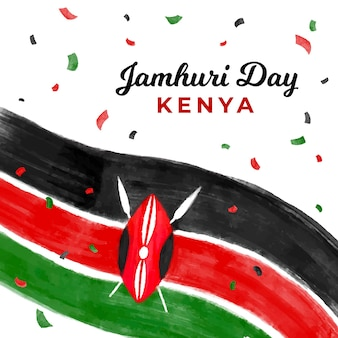 Dia nacional do quênia jamhuri pintado à mão
