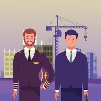 Dia nacional do trabalho ocupação celebração nacional, piloto com trabalhadores de homem de negócios executivo na frente cidade construção ver ilustração