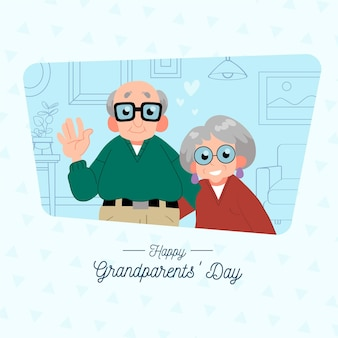 Dia nacional dos avós com casal de idosos