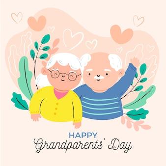 Dia nacional dos avós desenhados à mão