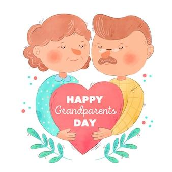 Dia nacional dos avós em aquarela