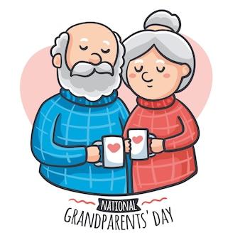 Dia nacional dos avós mão desenhada eua