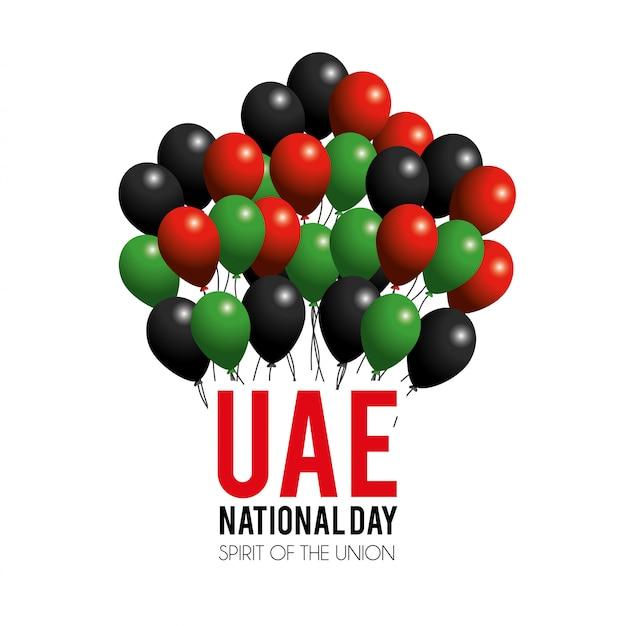 Dia nacional dos emirados árabes unidos com balões para celebração patriótica