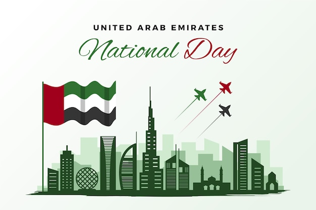 Dia nacional dos emirados árabes unidos flat