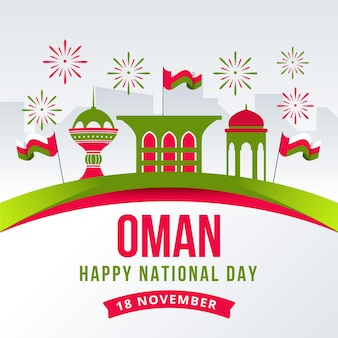 Dia nacional plano de ilustração de omã